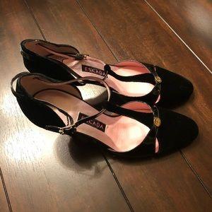 Black Velvet Escada Heels